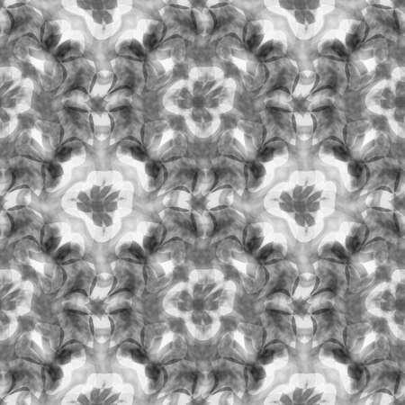 추상 흑백 꽃 패턴, 타일 질감 배경, 원활한 그림 스톡 콘텐츠