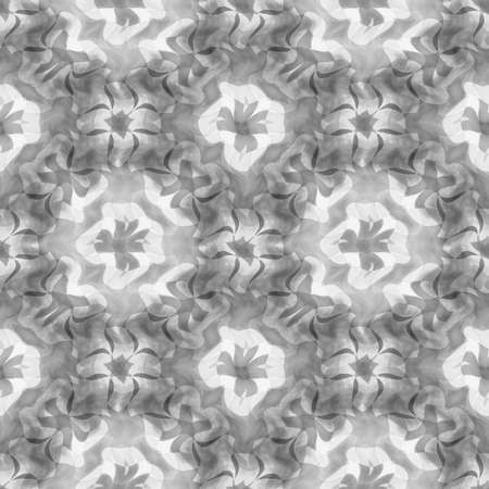 Abstract black and white floral pattern, Tile texture background, Seamless illustration