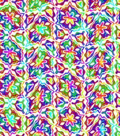 추상 화려한 꽃 패턴, 여러 가지 빛깔의 화려한 타일 질감 배경, 원활한 그림 스톡 콘텐츠