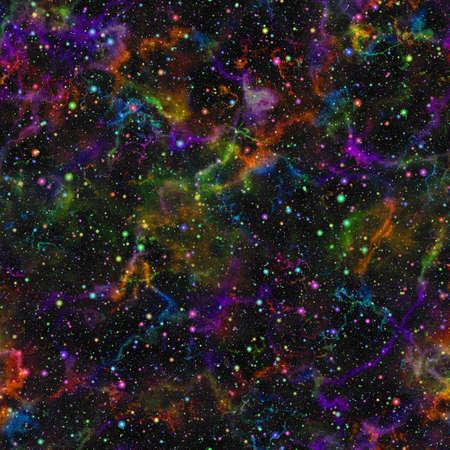 Abstract helder kleurrijk heelal, Regenboog gekleurde nevel nachtelijke zomer sterrenhemel, Multicolor glanzende buitenste ruimte, Glinsterende galactische textuur achtergrond, Kosmische naadloze illustratie Stockfoto