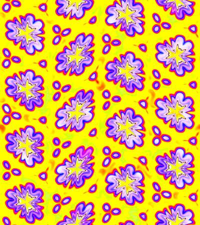 노란색 배경에 추상 보라색 꽃 패턴, 보라색 꽃 질감, 원활한 그림 스톡 콘텐츠