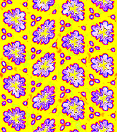 Abstract violet floral pattern on yellow background, Purple flower texture, Seamless illustration