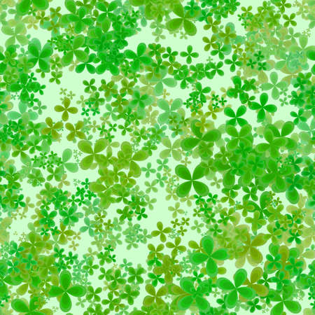 Abstract leafy spring pattern, Green leaves on light background, Cloverleaf texture, Seamless four leaf clover illustration