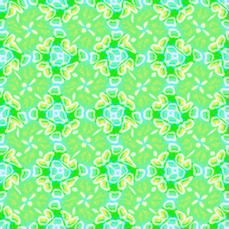 Abstract green floral tile pattern, Tiled texture background, Seamless illustration Stock Photo