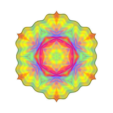 Abstract rainbow colored mandala, Flower isolated on white background, Colorful bloom, Multicolor esoteric petal mandala 版權商用圖片
