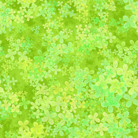 Abstract leafy spring pattern, Light leaves on green background, Cloverleaf texture, Seamless four leaf clover illustration