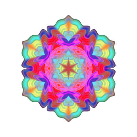 Abstract multicolor mandala, Flower isolated on white background, Colorful bloom, Esoteric petal mandala