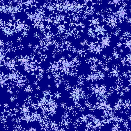 Abstract light snowflake pattern on dark blue background, Winter texture, Seamless illustration