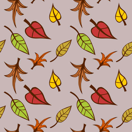 Abstract multicolor leaves on light brown background, Colorful autumn pattern, Leafy texture, Seamless illustration Zdjęcie Seryjne