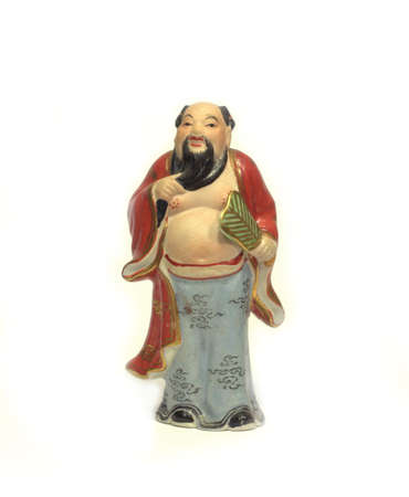 nobleman: Porcelain figurine Ancient Chinese nobleman with a fan Stock Photo