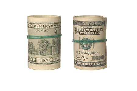 twists: Two american dollars twists isolated on white