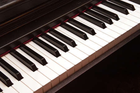 Electric piano keyboard closeup photo