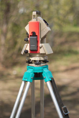 tacheometer: Electronic tacheometer on tripod