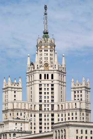 kotelnicheskaya embankment: Top section of Stalinist Residential house on Kotelnicheskaya embankment in Moscow Russia