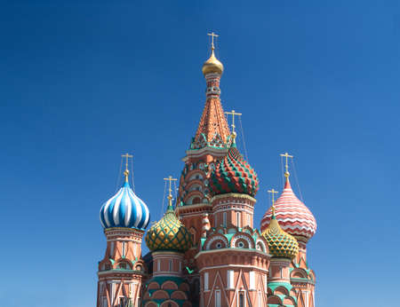 st basil s cathedral: St  Basil s Cathedral on Red Square in Moscow Russia over clear blue sky