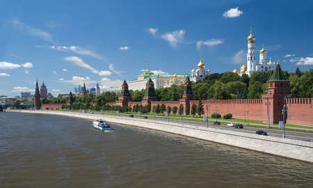 The Moscow Kremlin and churhes view from Moskva River