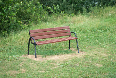 Brown wooden bench in a park photo