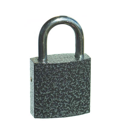 Metal lock with gray textured body isolated on white Stock Photo - 15147928