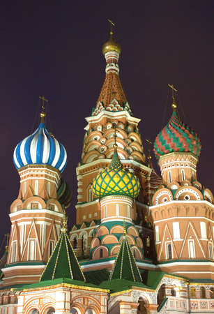 st basil s cathedral: St  Basil s Cathedral on Red Square in Moscow Russia night view Stock Photo