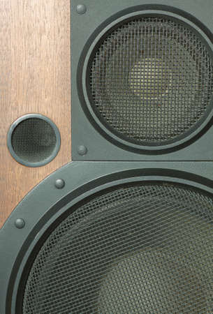Loud speaker system with metal black grills closeup photo