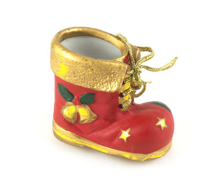 bootee: Red Christmas bootee isolated on white