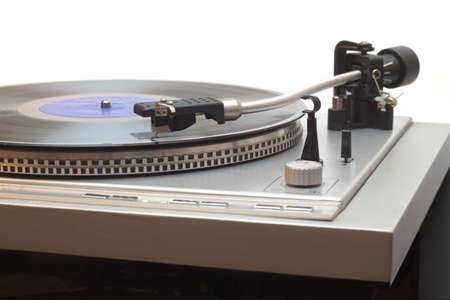 lp: Turntable with vinyl LP isolated on white closeup Stock Photo