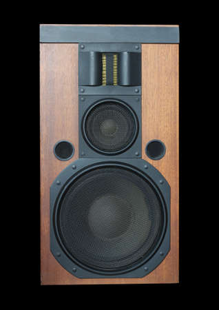 hifi: Hi-Fi loud speaker system with wood finish and metal black grills isolated on black background