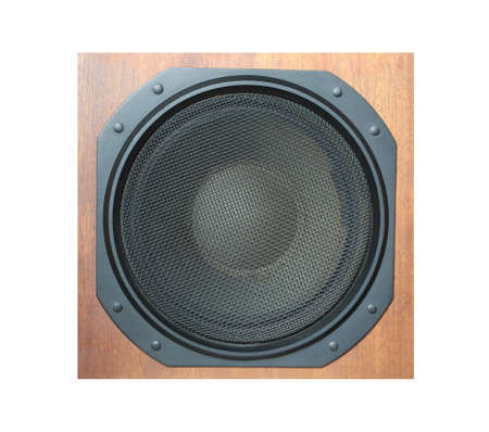 loud speaker: Subwoofer Loud speaker system with round black grill and wooden finish isolated on white background Stock Photo