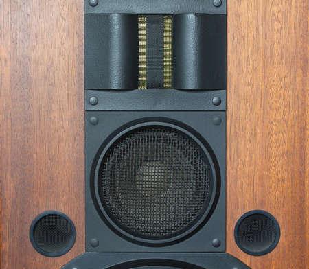 loud speaker: Loud speaker system with wood finish and metal black grills details closeup