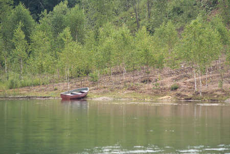 Landscape with boat on still river and many small birches photo