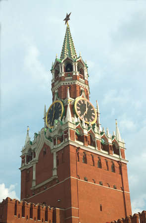 Spasskaya Tower of Moscow Kremlin close up vertical view photo