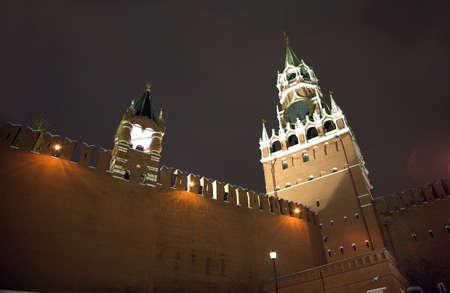 spasskaya: Moscow Kremlin wall with Spasskaya and Tsarskaya towers night view close up