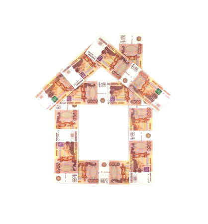 hypothec: House from Russian five thousand rubles banknotes isolated Stock Photo