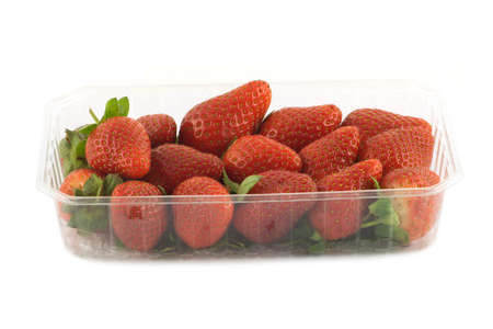 Many ripe appetizing red strawberries with green leaves in plastic container front view isolated closeup photo