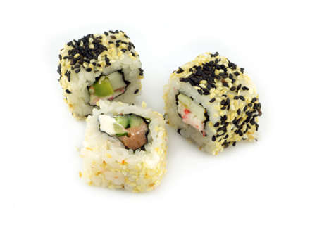 Three sushi pieces with sesame isolated on white background closeup photo