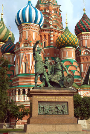 st basil s cathedral: Monument to Minin and Pozharsky on Red Square in Moscow Russia near St  Basil s Cathedral