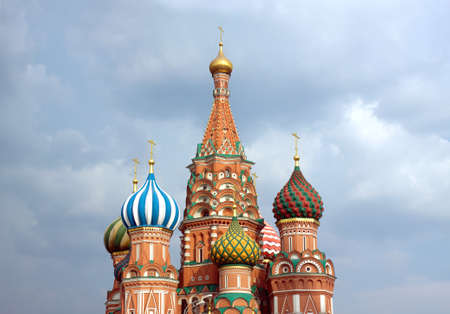 st basil s cathedral: St  Basil s Cathedral on Red Square in Moscow Russia against cloudy sky