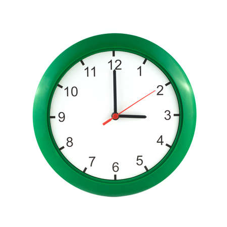 Three o clock on big wall clock in green case isolated on white close up
