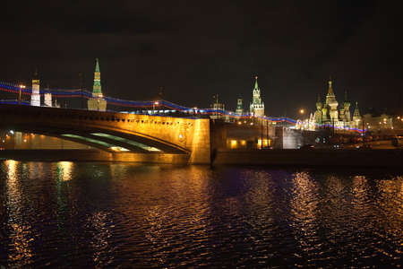Moscow Kremlin and St  Basil s Cathedral night view from Moskva-river