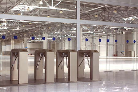 large doors: New access control system in large industrial building hall