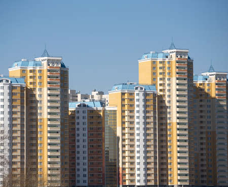 constructed: New constructed buildings over blue clear cloudless sky