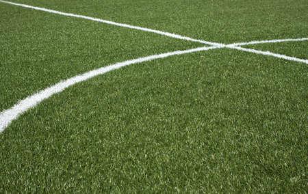 prato sintetico: La parte centrale di un campo di calcio in erba sintetica verde e linee bianche su di esso vista orizzontale del primo piano
