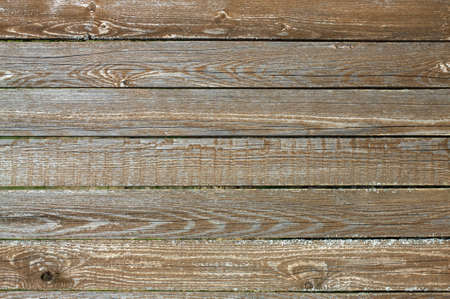 Fence from old wooden horizontal planks as background closeup photo