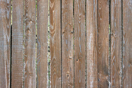 Fence from old wooden vertical planks as background horizontal view closeup photo