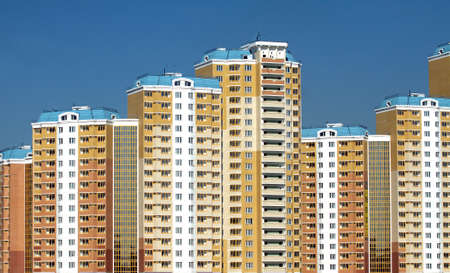 constructed: New constructed buildings over clear cloudless blue sky Stock Photo