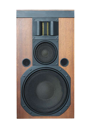 audible: Big three ways Hi-Fi loud speaker system with black grills and solid wood finish isolated on white closeup.