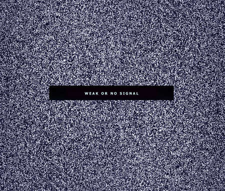 Inscription on a blank TV screen on a background of black and white digital noise