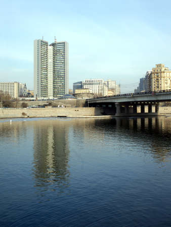 urban scenics: Moscow government building on Moskva-river embankment in spring. Vertica photo