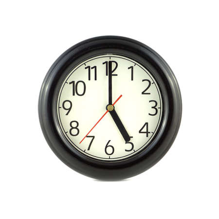 one object: Big round wall clock, with a dark rim on a white background close-up and arrows showing five oclock