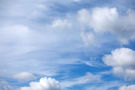 stratosphere: Beautiful celestial landscape with white clouds high in stratosphere on a sunny summer day